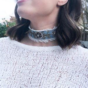NEW Topshop Denim Embellished Choker Necklace